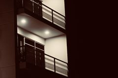 A Modern architecture building balcony at night unique photo royalty free stock photo