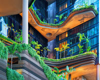 Modern architecture of a building balcony in Singapore Royalty Free Stock Photo
