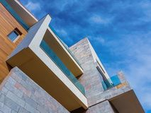 Modern architecture building. Detail against blue sky with copy space royalty free stock image