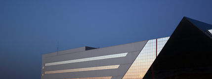 Modern architecture. Building in high-tech style stock photography