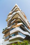 Modern architecture building in Milan, Italy. White and wooden materials used in construction. stock photography