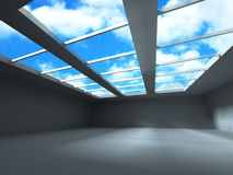 Modern Architecture Building With Sky Cloud Background. 3d Render Illusrtation stock illustration
