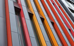 Modern building in Stockholm with colorful abstract facade royalty free stock images