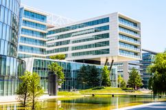 Modern architecture buildings in Austria Europe. Modern architecture buildings glass metal concrete Europe Austria Vienna Apartments royalty free stock images