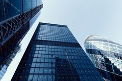 Modern architecture buildings in City of London. With blue sky Stock Photo