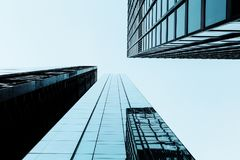 Modern architecture buildings in City of London. Low angle view Royalty Free Stock Images