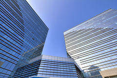 Modern architecture. Modern buildings in Xiamen city, South China, with glass external and reflection, shown as modern city or urban environment Stock Photos