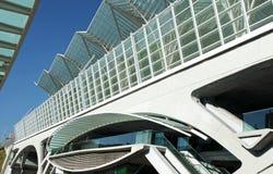 Modern architecture business center. Railway bridge of a modern business center Royalty Free Stock Photos