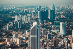Modern architecture, business office building, cityscape background. Kuala Lumpur skyline. Travel to Malaysia. Urban skyscrapers. Stock Image
