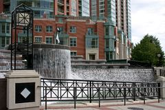 Modern architecture Chicago. Exterior of modern building with fountain in foreground, Chicago city, Illinois, U.S.A Stock Images