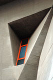 Modern Architecture detail. Orange window and geometric lines on modren architecture stock photo