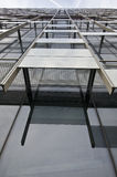 Modern architecture details. Close details about surface of modern building from the bottom to the top Royalty Free Stock Photo