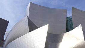 Modern architecture of Disney Concert Hall in Los Angeles - California, USA - March 18, 2019. Modern architecture of Disney Concert Hall in Los Angeles - Los stock footage