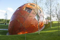 Modern architecture with egg shaped round building Royalty Free Stock Photography