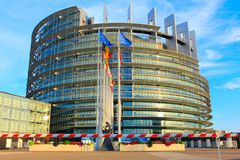 STRASBOURG, FRANCE - AUGUST 7,2017: european parliament and eu countries flags in strasbourg, alsace, france. Modern architecture of european union parliament at royalty free stock photos