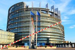 STRASBOURG, FRANCE - AUGUST 7,2017: european parliament and eu countries flags in strasbourg, alsace, france. Modern architecture of european union parliament at stock photography