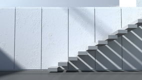 Modern architecture. Exterior,patio, stairs with white walls and sunlight stock footage