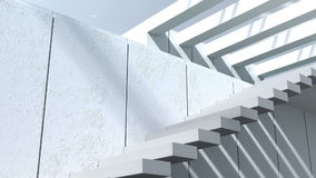 Modern architecture. Exterior,patio, stairs with white walls and sunlight stock video footage