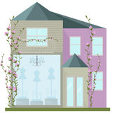 Modern architecture facade of a fashion house. Vector illustration flowers Royalty Free Stock Photography