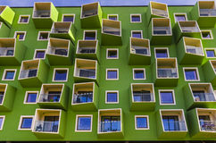 Modern architecture. Frontside of a building in modern architecture with outer balconies royalty free stock image