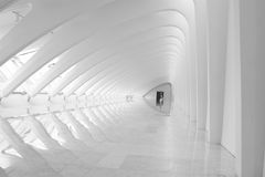 Modern Architecture Hallway. A hallway in a modern building all in white with reflections Stock Photo