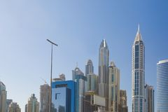 High rise and modern buildings in Dubai Marina, UAE. stock photos