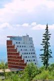 Panorama hotel at Strbske Pleso, High Tatras, Slovakia. Modern architecture in High Tatras, Slovakia royalty free stock image
