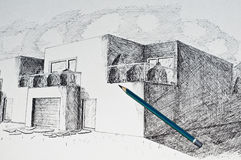 Modern Architecture House Perspective And A Pencil Stock Photos