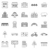 Modern architecture icons set, outline style Stock Photo