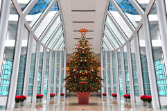 Modern architecture interior. With arch shaped glass roof and decorated with christmas tree in the middle of the hall Royalty Free Stock Photo