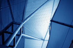 Modern Architecture Interior. Airport Blue Ceiling, Modern Building Interior, Shanghai, China Pudong Airport Royalty Free Stock Photo