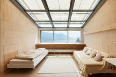 Modern architecture, interior, bedroom. Mountain house, modern architecture, interior, bedroom Royalty Free Stock Photography