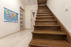 Modern architecture interior with elegant luxury hallway with gl Stock Photos