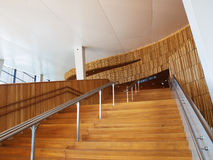Wooden Stairs in modern architecture interior Stock Images