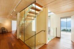 Modern architecture, interior, staircase. Mountain house, modern architecture, interior, staircase Royalty Free Stock Photo