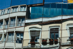 Modern architecture on Istiklal Caddesi - Istanbul. Reflection in windows of modern building on Istiklal boulevard in Istanbul Stock Image