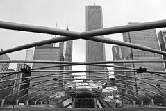 Modern architecture of the Jay Pritzker Pavilion in Chicago Stock Photos