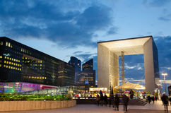Modern architecture in La Défense  late at night Royalty Free Stock Images