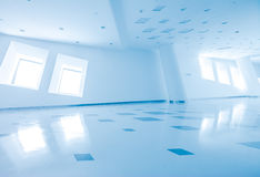 Modern architecture of large business conference center with blue tone. Royalty Free Stock Image