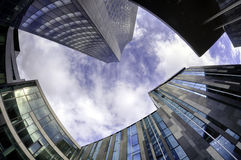 Modern architecture at Leipzig. Fisheye view of modern buildings at Leipzig, Germany. HDR image Stock Photography
