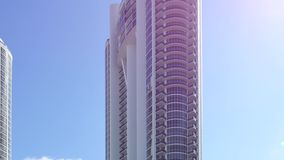 Modern architecture with lens flare. 4k video of Sunny Isles Beach architecture with solar flare stock video footage