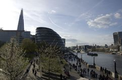 Modern architecture London Southbank. View of The Shard and the older buildings in Southbank London Stock Photo