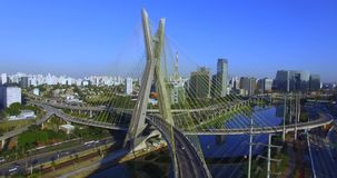 Modern architecture. Modern bridges. Linking two different points. Cable stayed bridge in the world. stock video