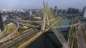 Modern architecture. Modern bridges. Linking two different points. Cable stayed bridge in the world, Sao Paulo Brazil. stock footage