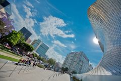 Modern architecture and the Museum building in the centre of Mexico city. Modern architecture, street, people and the Museum building in the centre of Mexico Stock Photography