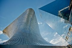 Texture and form of the building Soumaya and next. Modern architecture and the Museum building in the centre of Mexico city Royalty Free Stock Images