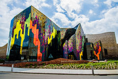 Modern Architecture Museum in Kansas City. Very interesting and unique architecture made from multi-colored vinyl siding, metal and stained glass. Modern Royalty Free Stock Photos
