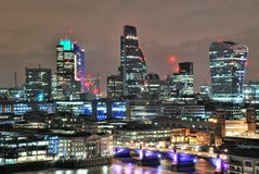 Modern Architecture in Southwark, London. Modern Architecture at night in Southwark, South London, UK stock photo
