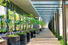 Modern Architecture Of A Building Terrace In Singapore Stock Images