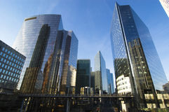 Modern architecture in Paris. Modern skyscrapers in La Defense business district - Paris, France Stock Images